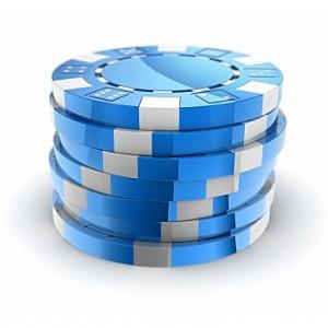 Hög med casinochips